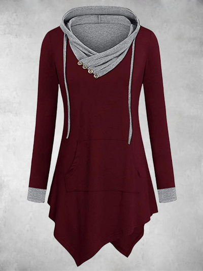 Hooded knitted long sleeve dress