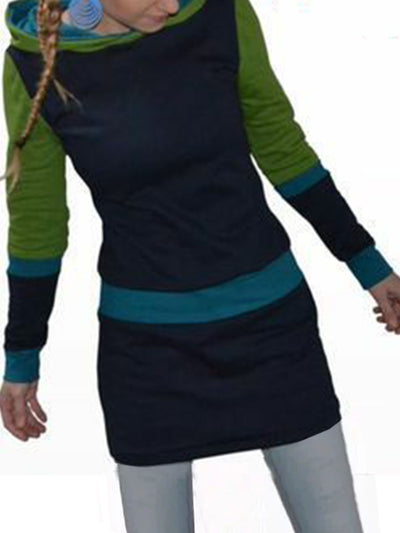 Long Sleeve Hoodie Color-Block Dresses