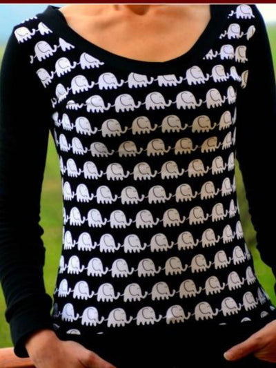Black Long Sleeve Crew Neck Cotton-Blend Animal Shirts & Tops