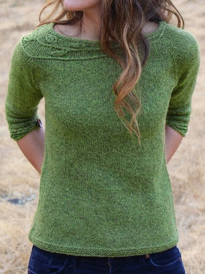 Casual Long Sleeve Round Neck Plus Size Sweater
