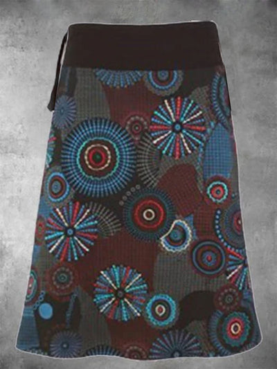 Brown Cotton-Blend Printed  Skirts