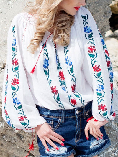 Casual Printed Long Sleeve  V neck Tops
