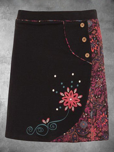 Plus Size Color Vintage Tribal Cotton-Blend Skirts