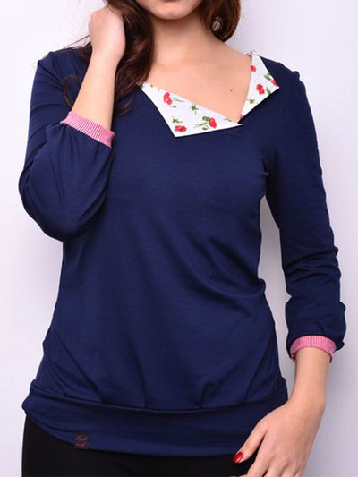 Blue Cotton-Blend Casual Round Neck Sweatshirt