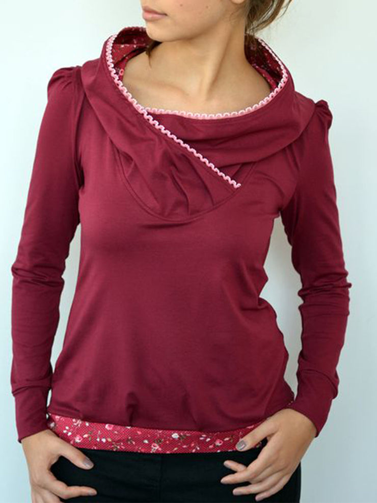 Rose Red Long Sleeve Hoodie Sweatshirt
