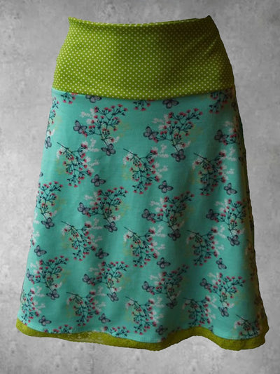 Plus Size Casual Vintage Cotton-Blend Floral Skirts