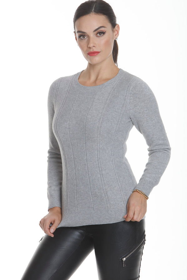 Micro Ribbed Round Neck L/S Sweater