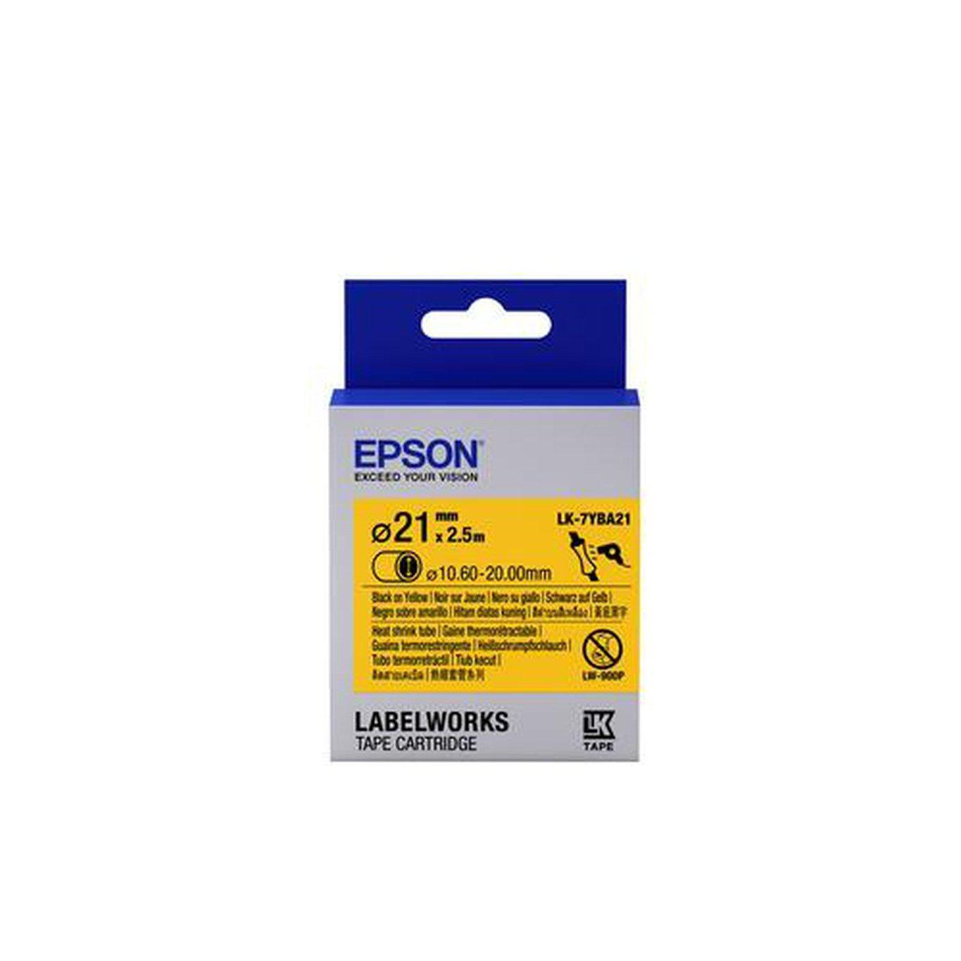 Epson LabelWorks Tape Cartridge Heat Shrink Tube LK-7YBA21 21mm x 2.5m, Black on Yellow | C53S657904 Consumable Epson
