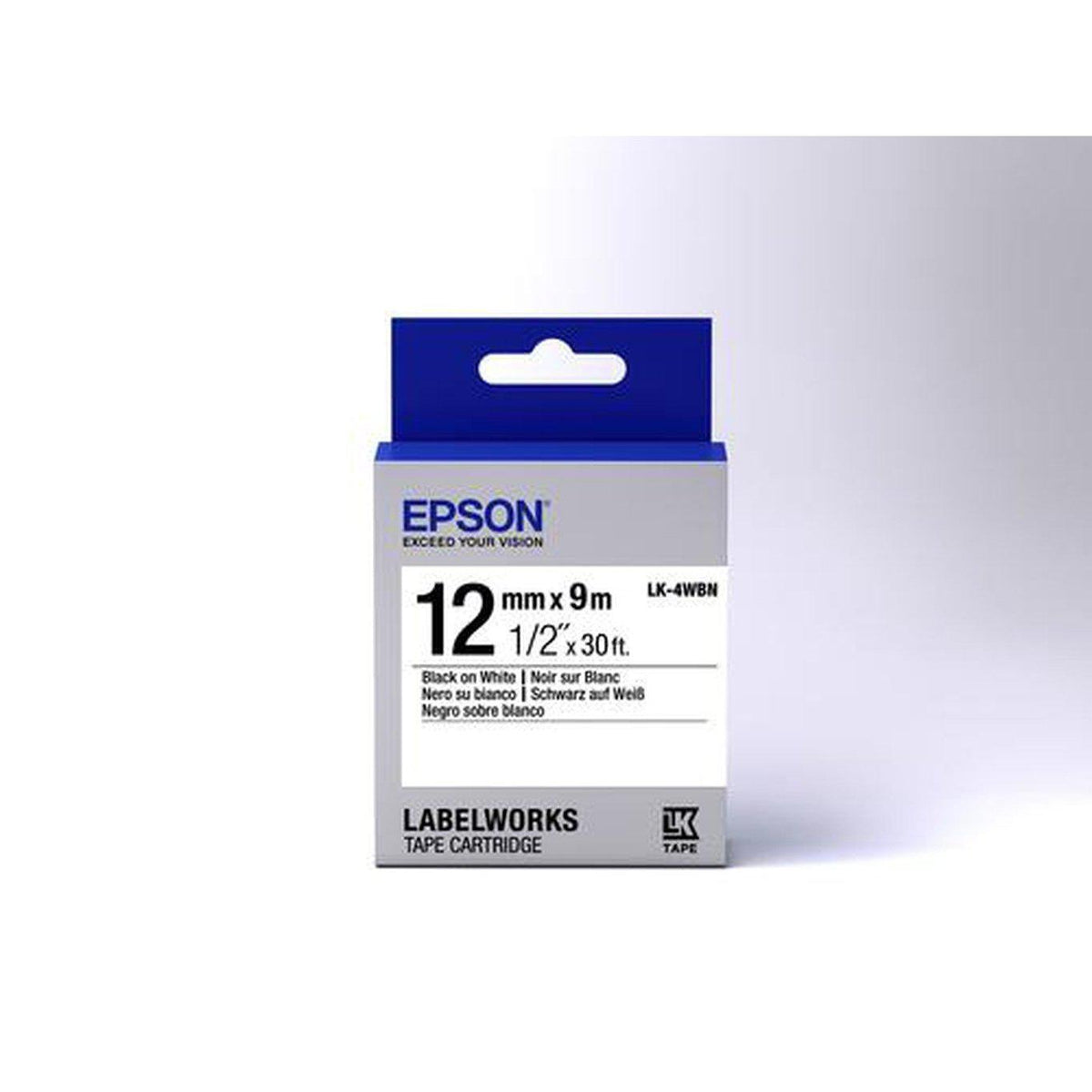 Epson Label Cartridge Standard LK-4WBN 12mm x 9m, Black on White | C53S654021 Consumable Epson
