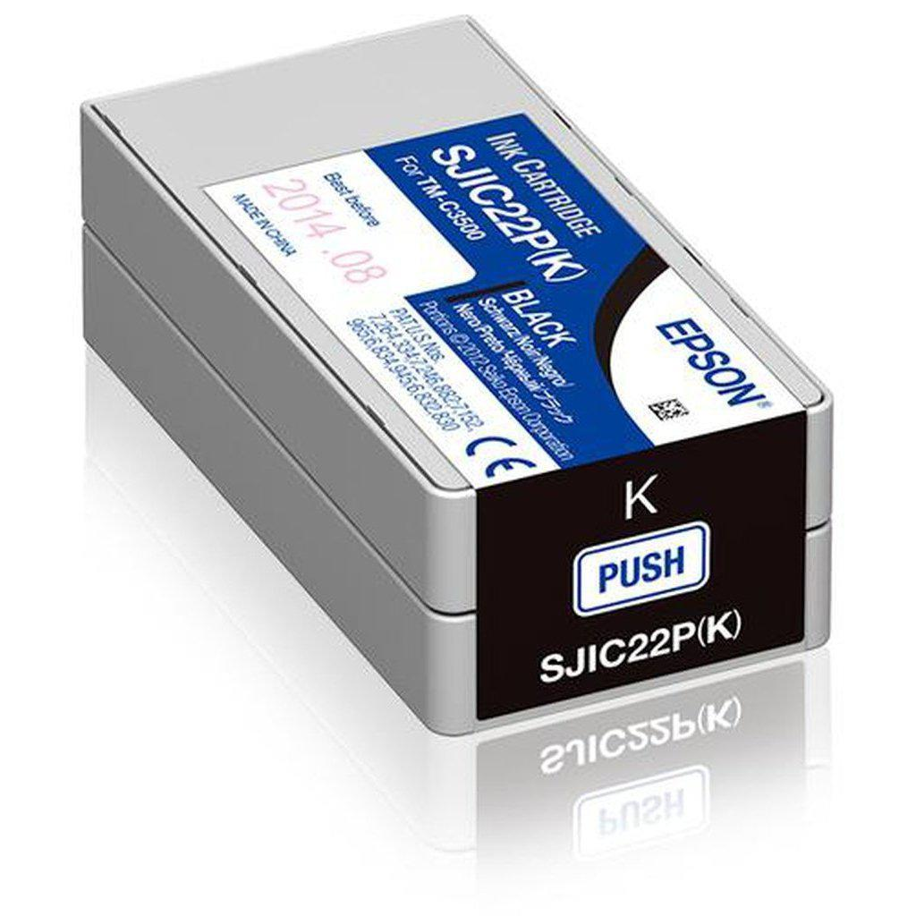Epson SJIC22P Ink Cartridge for ColorWorks C3500, Black | C33S020601 Consumable Epson