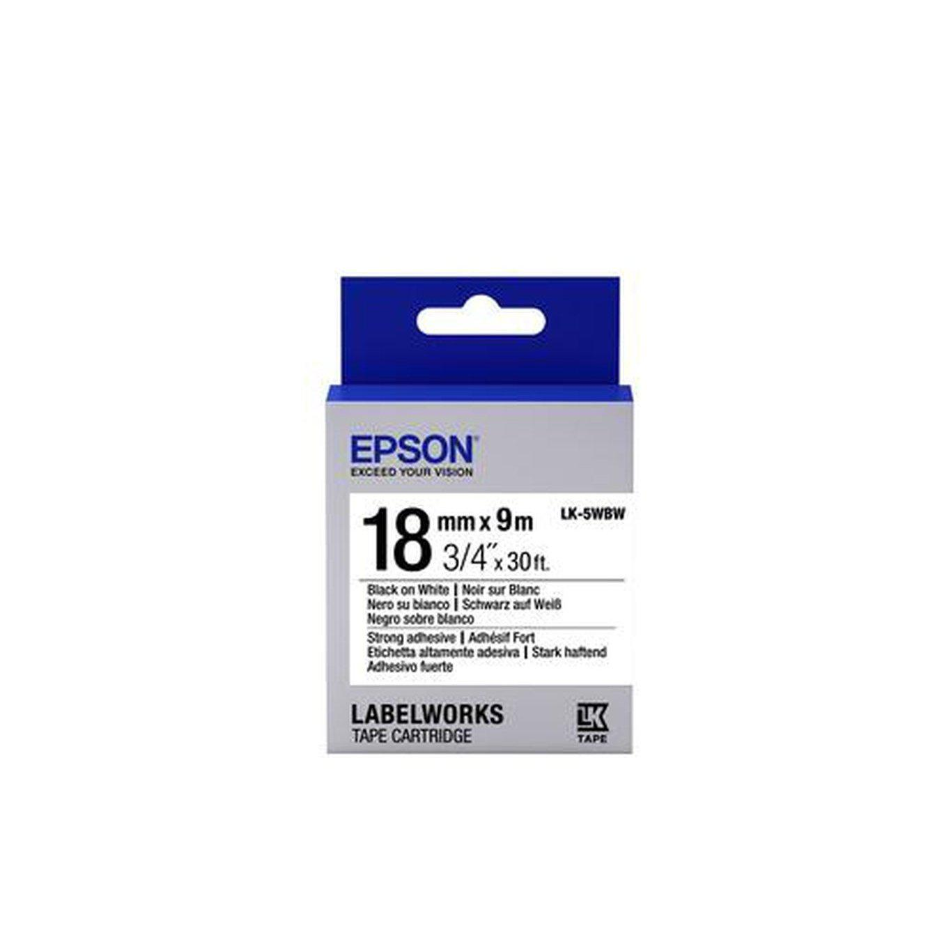 Epson Label Cartridge Strong Adhesive LK-5WBW 18mm x 9m, Black on White | C53S655012 Consumable Epson