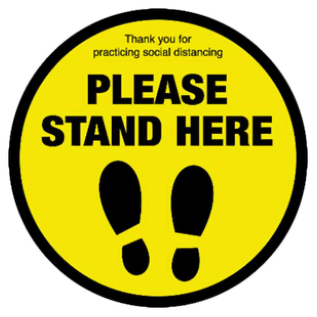 Catering Essentials Please Stand Here Anti-Slip Vinyl Sign | C400-PSH Signage Catering Essentials