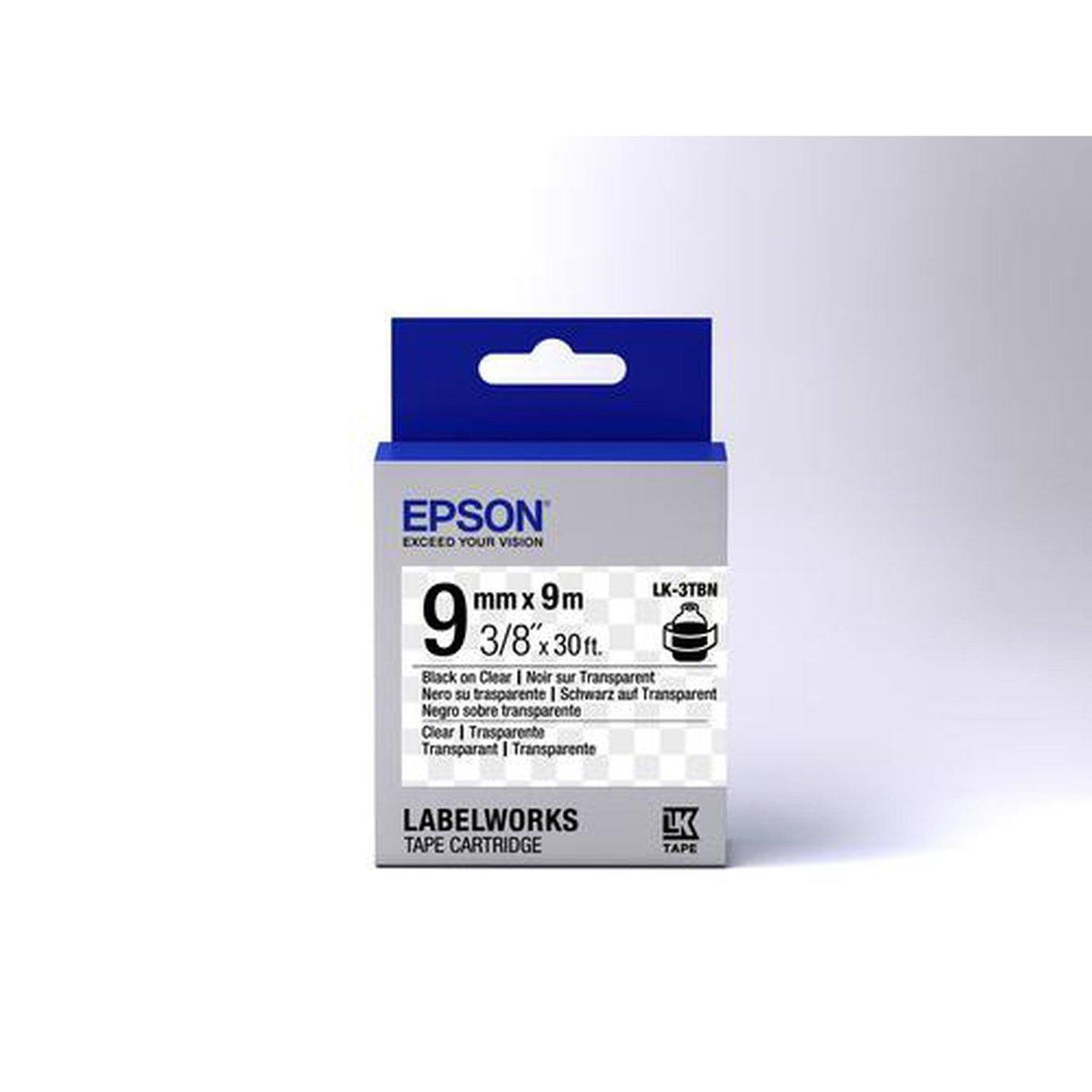 Epson Label Cartridge Transparent LK-3TBN Clear Black on Clear 9mm x 9m | C53S653004
