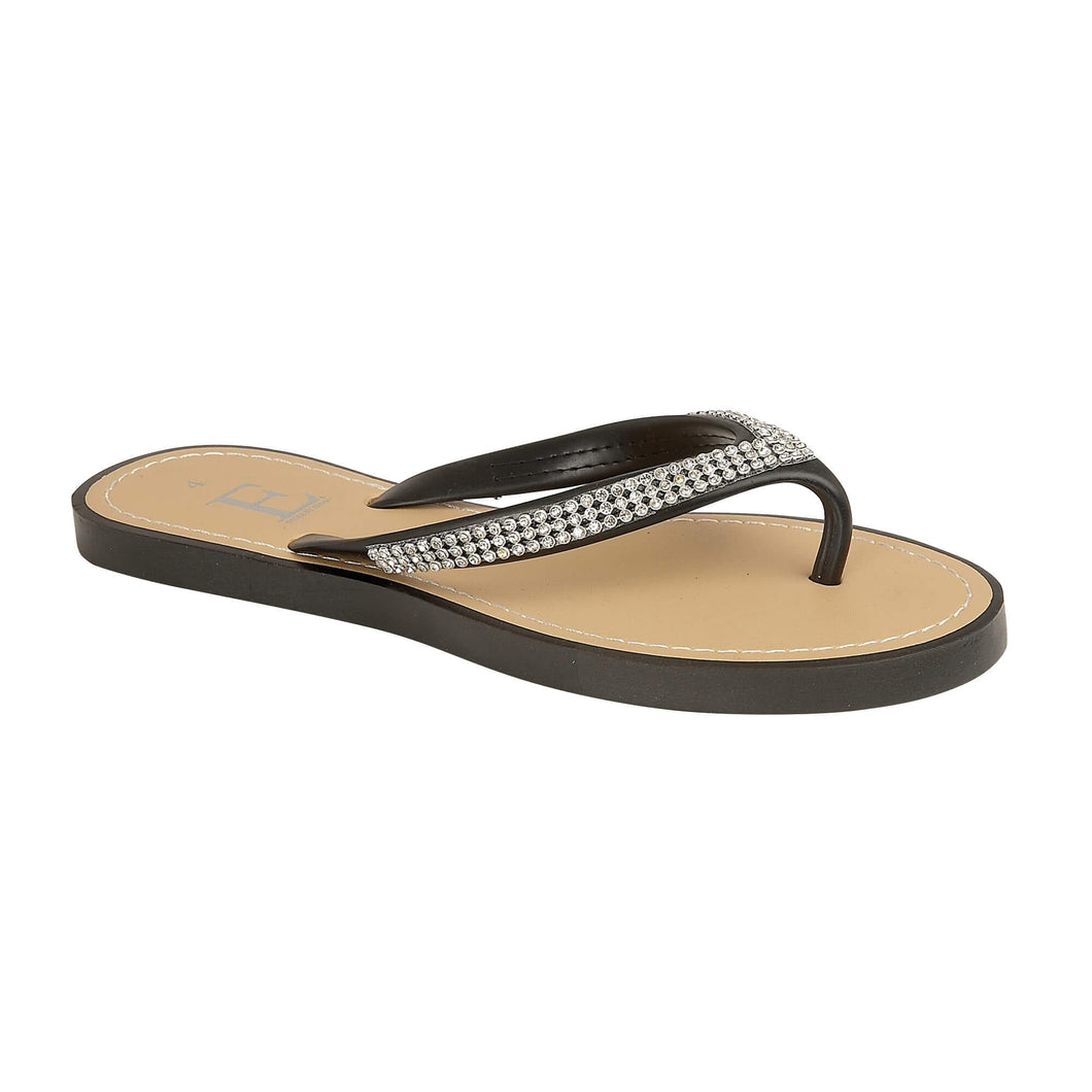 Black Flip Flop With Silver Sparkle