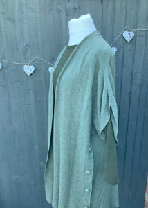 Long Edge to Edge Cardigan Jacket with Side Buttons