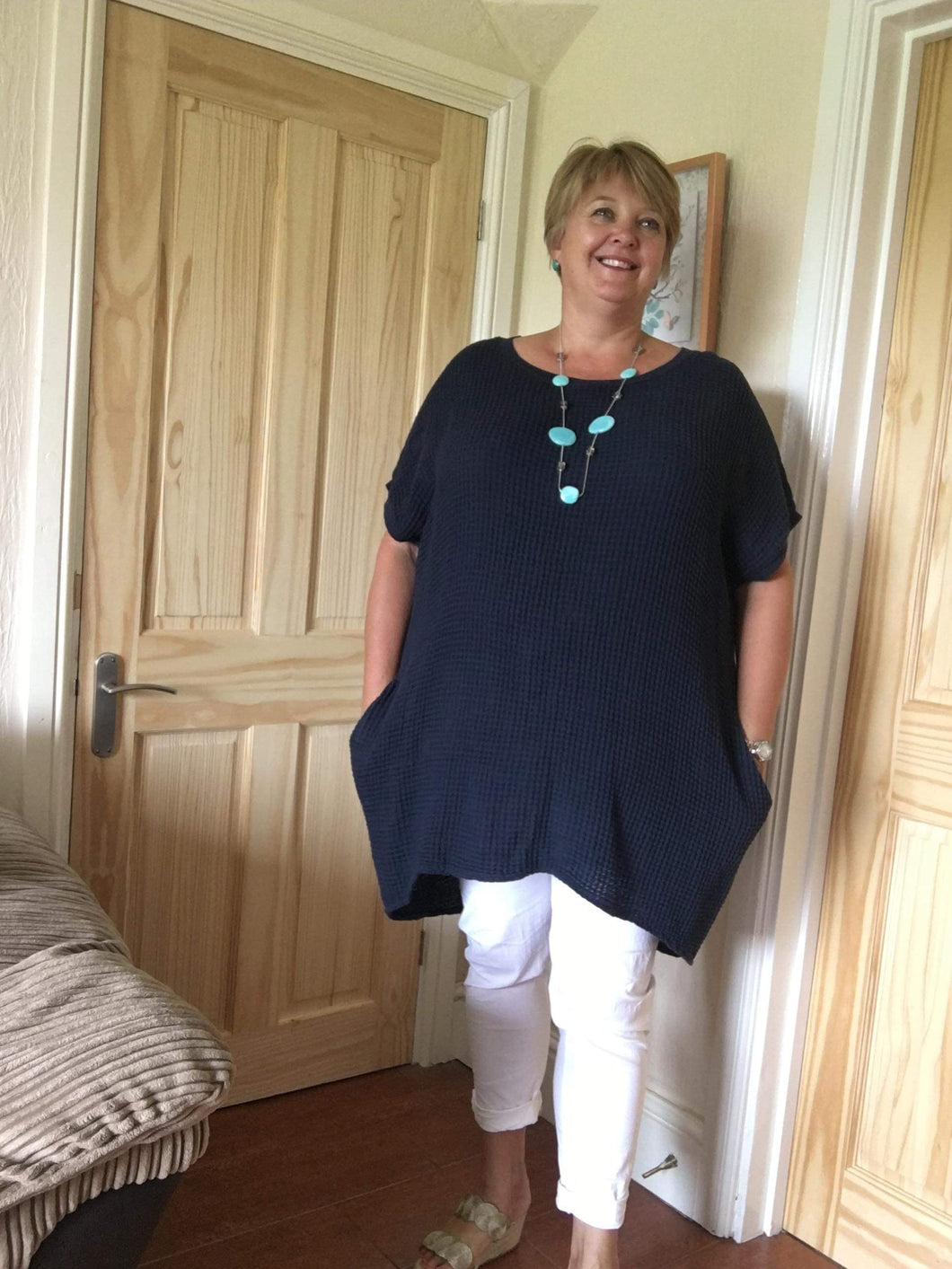 Waffle Tunic with Short Sleeves