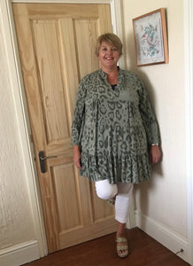Leopard Print Tiered Smock Top