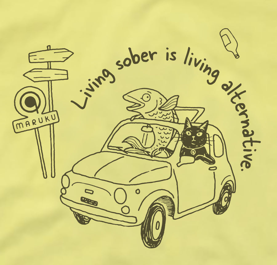 "MARUKUオリジナルTシャツ<br>""Living sober is living alternative"""