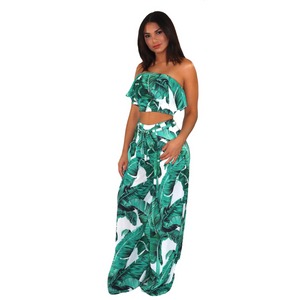 Tropical green floral two piece set, with a strapless ruffled crop top and high waisted palazzo pants.
