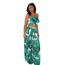 Load image into Gallery viewer, Tropical green floral two piece set, with a strapless ruffled crop top and high waisted palazzo pants.