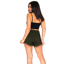 Load image into Gallery viewer, High-waist distressed olive shorts.