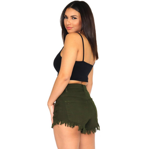 High-waist distressed olive shorts.