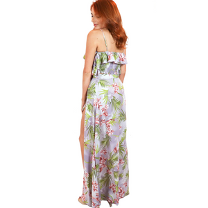 Lavender and floral off-the-shoulder cropped top and tie-wrap skirt with a high-side leg slit, made in polyester.