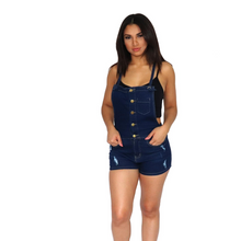 Load image into Gallery viewer, Dark wash button front denim romper with pockets.