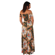 Load image into Gallery viewer, Off-the-shoulder polyester multi-color dress, with built-in shorts and high front slits.