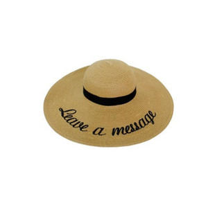 Leave a Message Embroidered Beach Hat