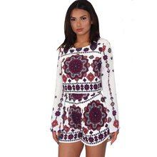 Load image into Gallery viewer, Long sleeve white, purple and burgundy printed top and high-waisted short set, made in rayon.