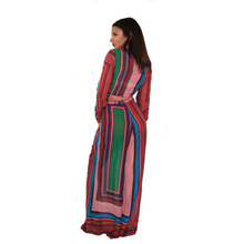 Load image into Gallery viewer, Red with multi-colored stripes, two piece set,  comfy palazzo pant and crop top.  Back View