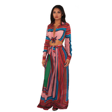 Load image into Gallery viewer, Red with multi-colored stripes, two piece set,  comfy palazzo pant and crop top.  Front View