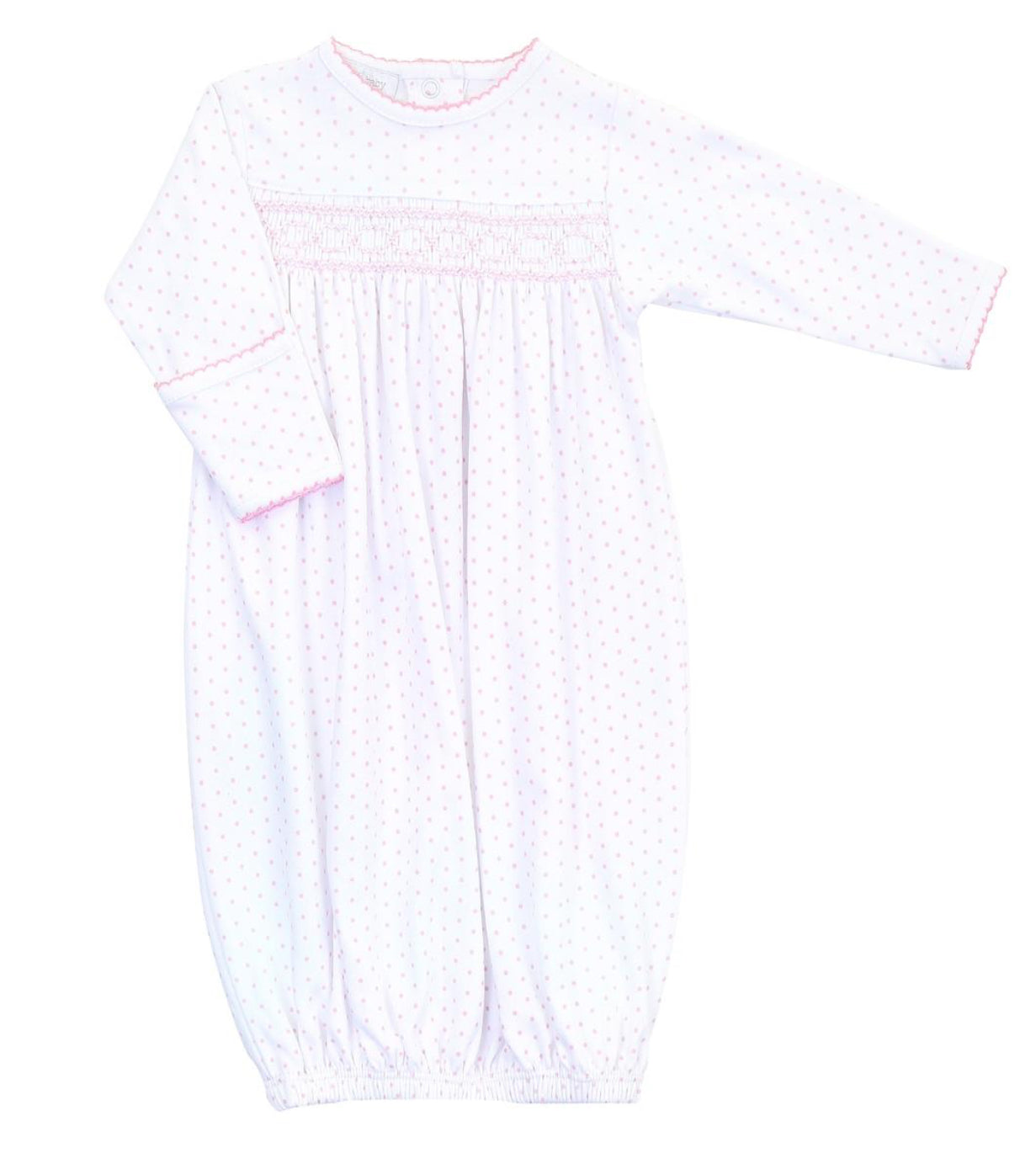 Magnolia Baby Pink Mini Dot Smocked Baby Gown