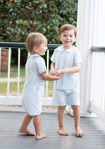 Pleated boys short set in blue