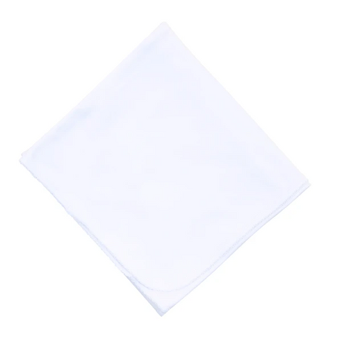 Magnolia Baby White Blanket with Trim (mult colors)