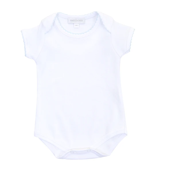 Magnolia Baby White Bodysuit with Blue Trim