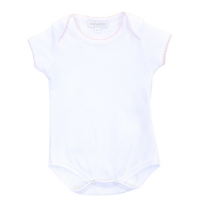 Magnolia Baby White Bodysuit with Pink Trim
