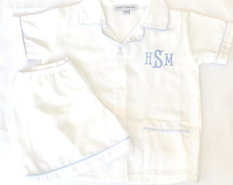 Boys White Shorts PJ set
