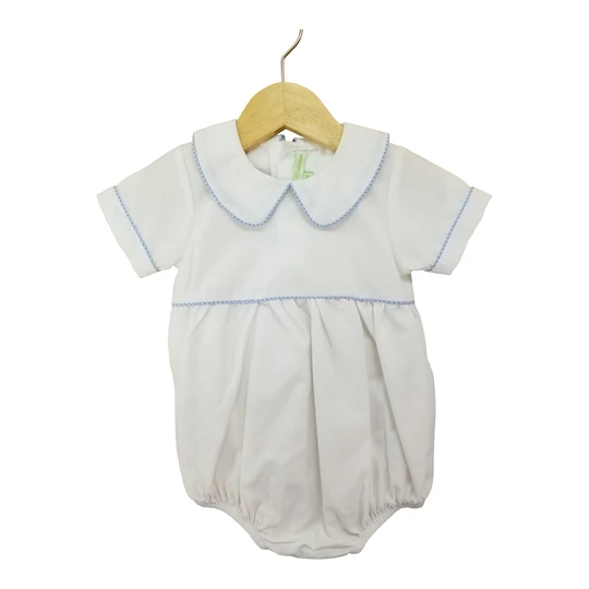 Boys White Bubble with Blue Gingham Piping