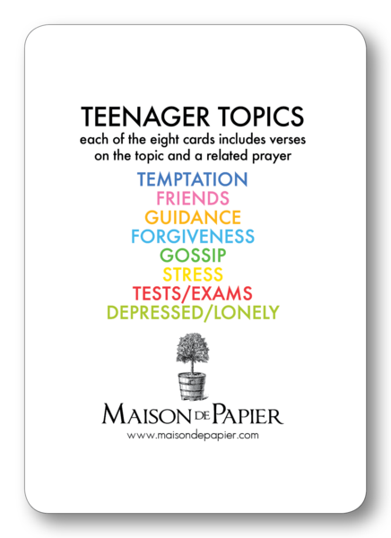 Teenage Topics verse cards