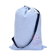 navy seersucker monogrammed laundry bag