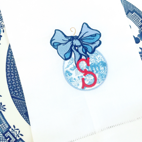 Monogrammed Chinoiserie Ornament Hand Towel