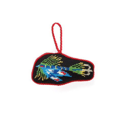 Fishing Lure Blue Needlepoint Ornament (Set of 6)