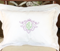 Monogrammed Hemstitch Boudoir Pillow