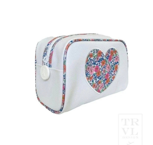 Heart appliqué cosmetic bag