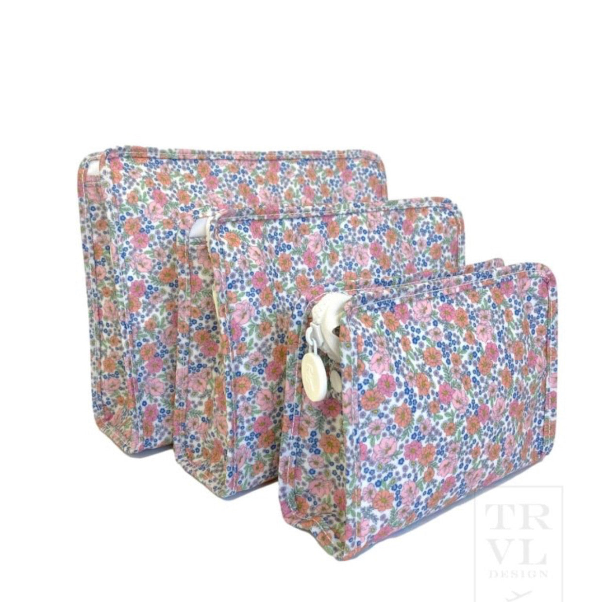 TRVL Floral Cosmetic Case (mult sizes)