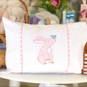 Pique Baby Pillow with Bunny Embroidery