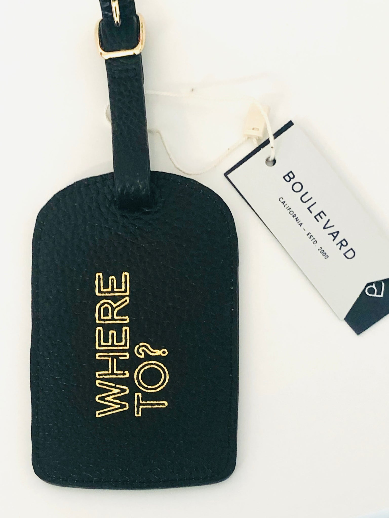 """Where To"" leather luggage tag"