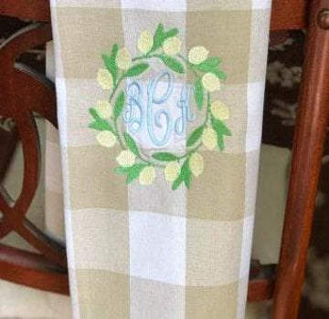Monogrammed Lemon Wreath Kitchen Towel
